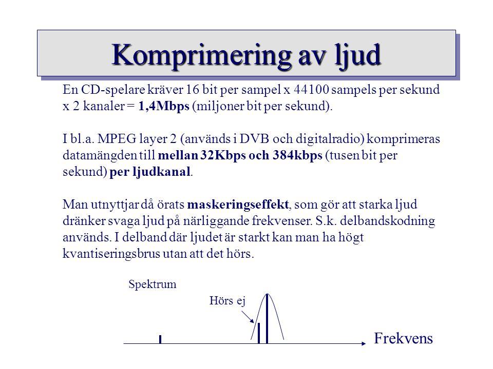 Komprimering av ljud En CD-spelare kräver 16 bit per sampel x 44100 sampels per sekund x 2 kanaler = 1,4Mbps (miljoner bit per sekund). I bl.a. MPEG l