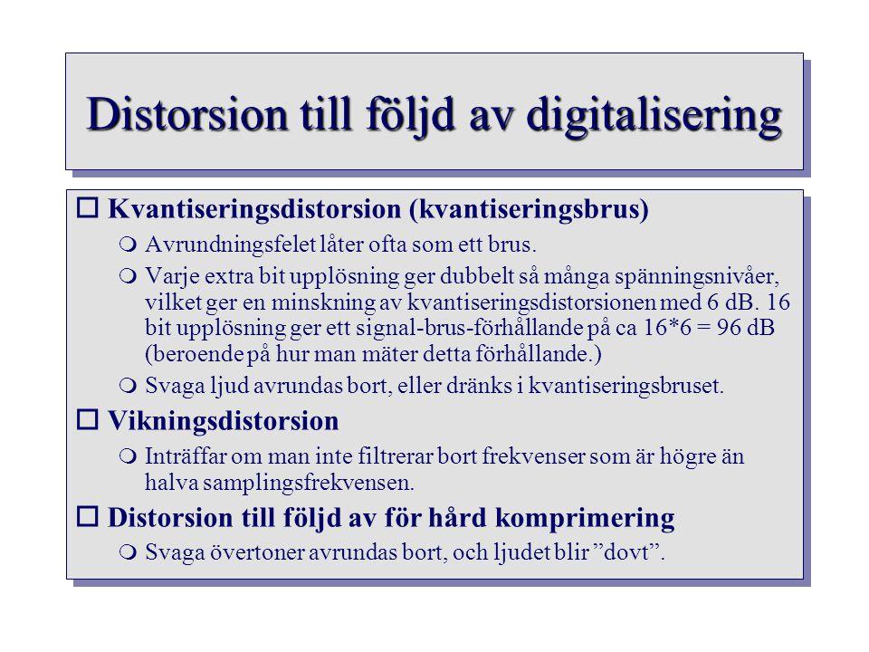 Distorsion till följd av digitalisering oKvantiseringsdistorsion (kvantiseringsbrus)  Avrundningsfelet låter ofta som ett brus.  Varje extra bit upp