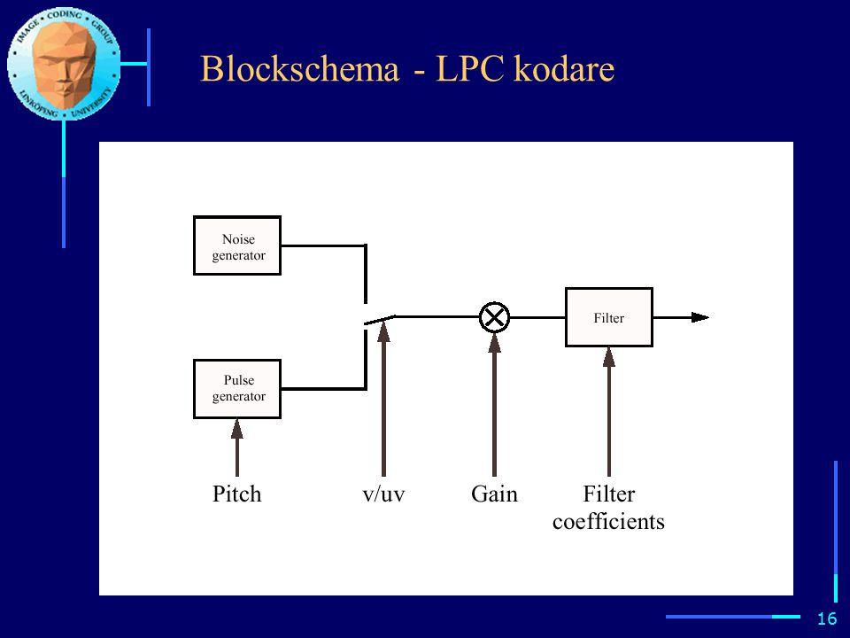 15 LPC ( Linear Predictive Coding ) Kombinera exitationsmodellen enligt tidigare (brus/pulsgenerator) med styrbart filter.