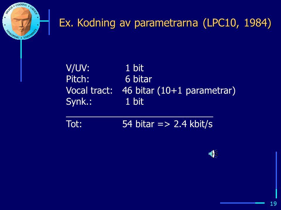 18 Parameterestimering (se kursens hemsida för mer detaljer) 1.Signalen delas lämpligen upp i korta segment (ex.vis 20 ms).