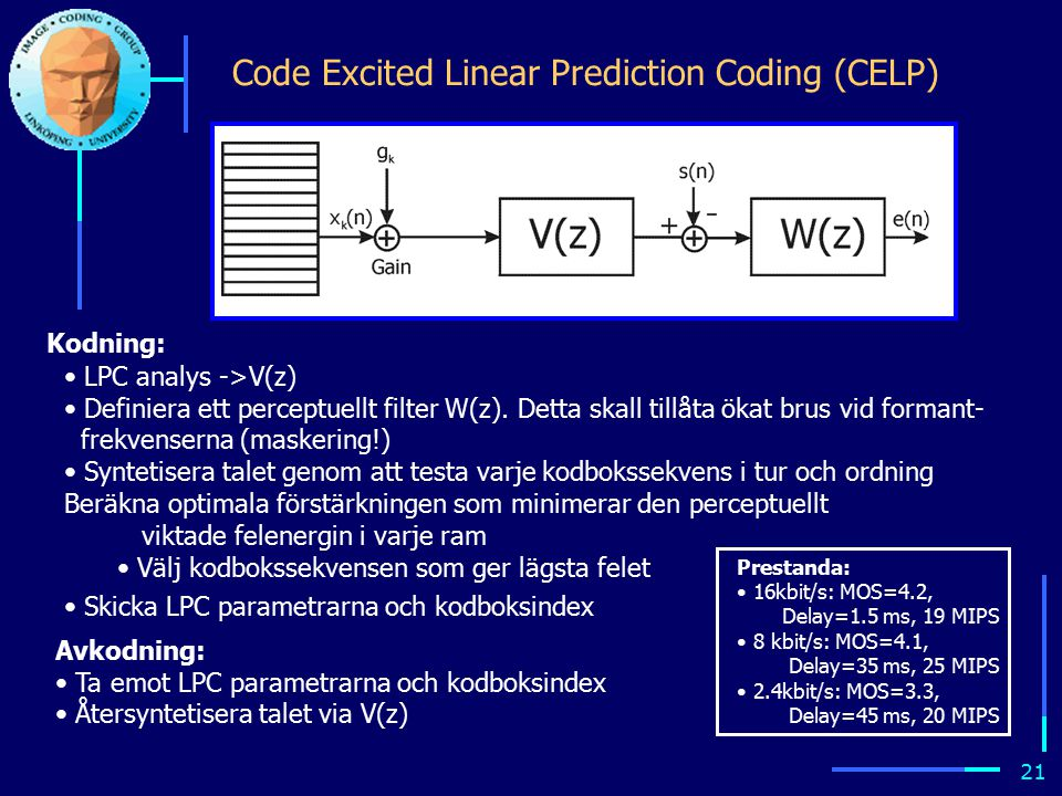 20 CELP ( Code excited linear prediction ) 1.Byt ut V/UV-exiteringen mot en tabell som innehåller ett stort antal förlagrade exiteringssignaler (jfr VQ): kodbok V(z) 2.