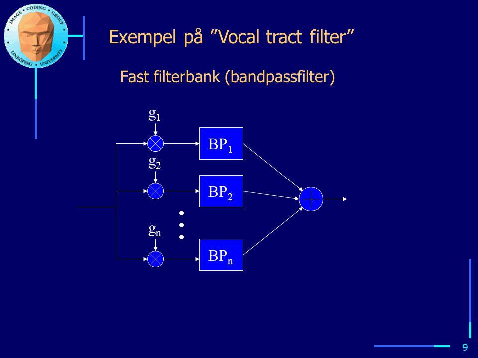8 Modellbaserad talkodning Avancerade talkodare baserar sig på modeller av hur talet genereras: Puls- generator Brus- generator Vocal tract pitch Voiced/unvoiced