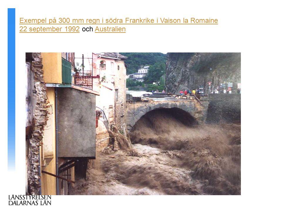 Flyttbara väggar som skyddar de låglänta delarna Exempel på 300 mm regn i södra Frankrike i Vaison la Romaine 22 september 199222 september 1992 och AustralienAustralien