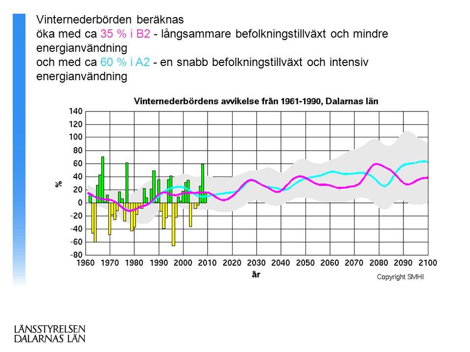 Vinternederbörden beräknas öka med ca 35 % i B2 - långsammare befolkningstillväxt och mindre energianvändning och med ca 60 % i A2 - en snabb befolkningstillväxt och intensiv energianvändning