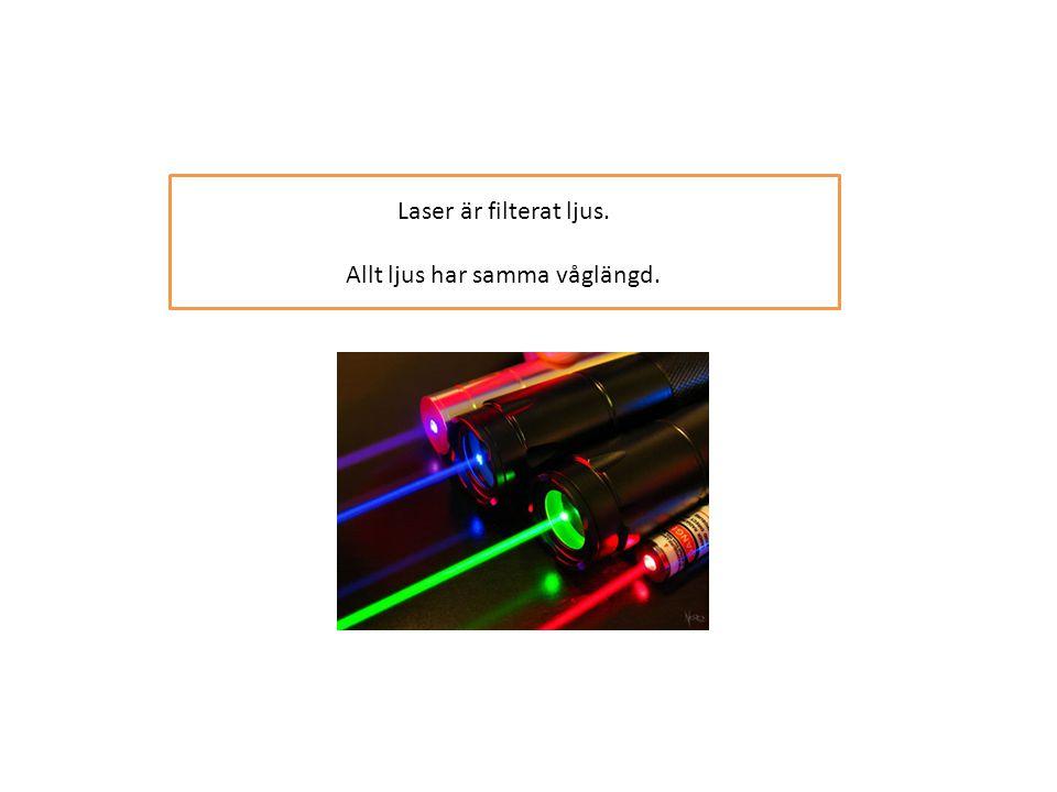 Laser är filterat ljus. Allt ljus har samma våglängd.