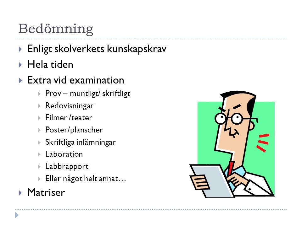 Böcker  Puls från Natur & Kultur  1 bok i kemi  1 bok i biologi  1 bok i fysik  Håll ordning på boken.