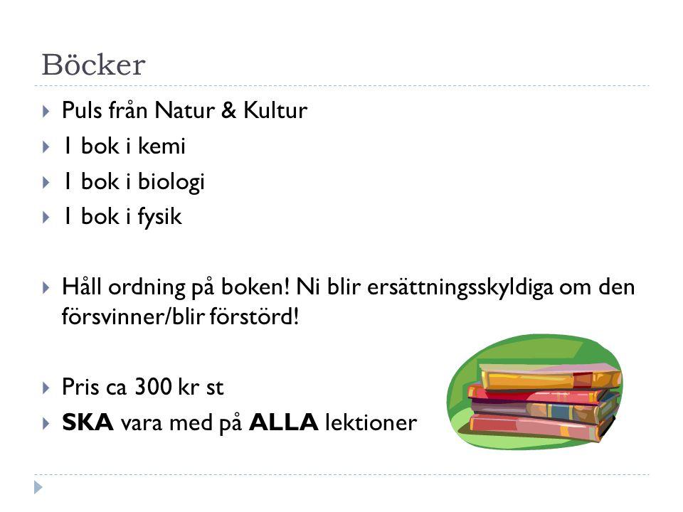 Böcker  Puls från Natur & Kultur  1 bok i kemi  1 bok i biologi  1 bok i fysik  Håll ordning på boken! Ni blir ersättningsskyldiga om den försvin