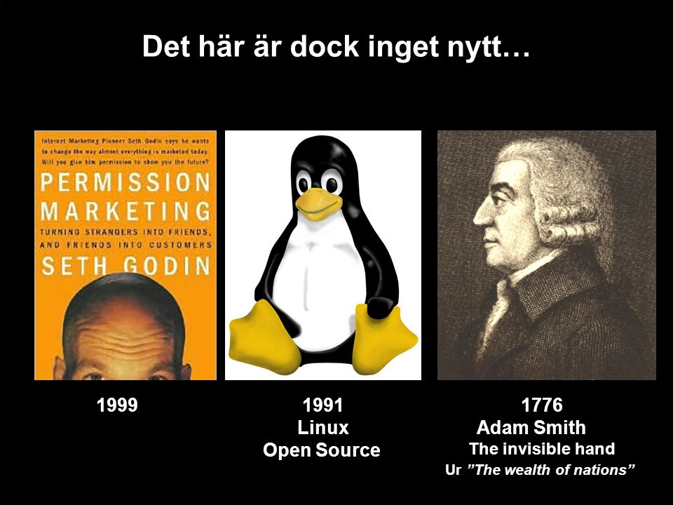 "Det här är dock inget nytt… 1776 Adam Smith The invisible hand Ur ""The wealth of nations"" 1991 Linux Open Source 1999"