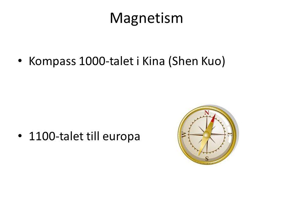 Magnetism Kompass 1000-talet i Kina (Shen Kuo) 1100-talet till europa