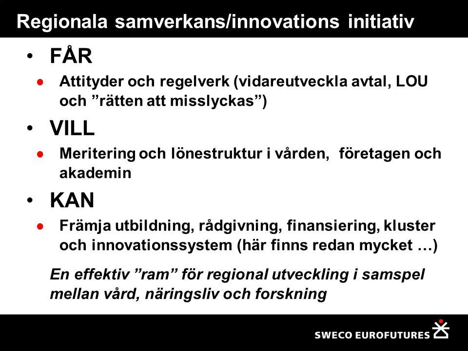 """Regionala samverkans/innovations initiativ FÅR Attityder och regelverk (vidareutveckla avtal, LOU och """"rätten att misslyckas"""") VILL Meritering och lön"""