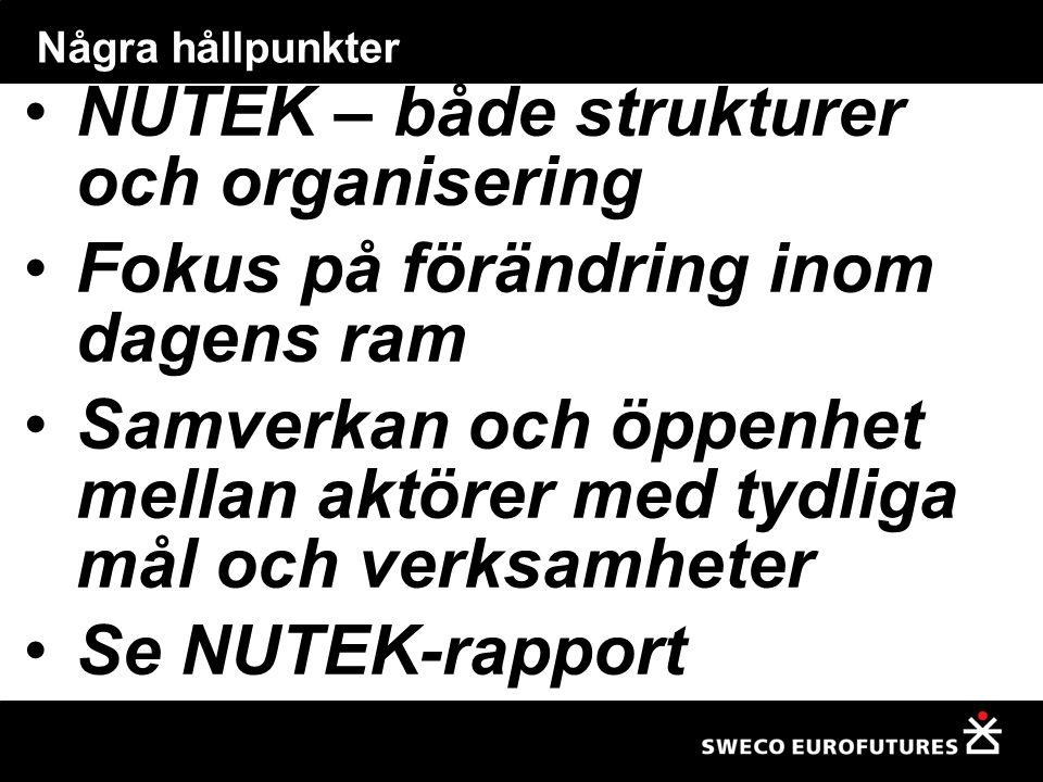 NUTEK – både strukturer och organisering Fokus på förändring inom dagens ram Samverkan och öppenhet mellan aktörer med tydliga mål och verksamheter Se NUTEK-rapport Några hållpunkter