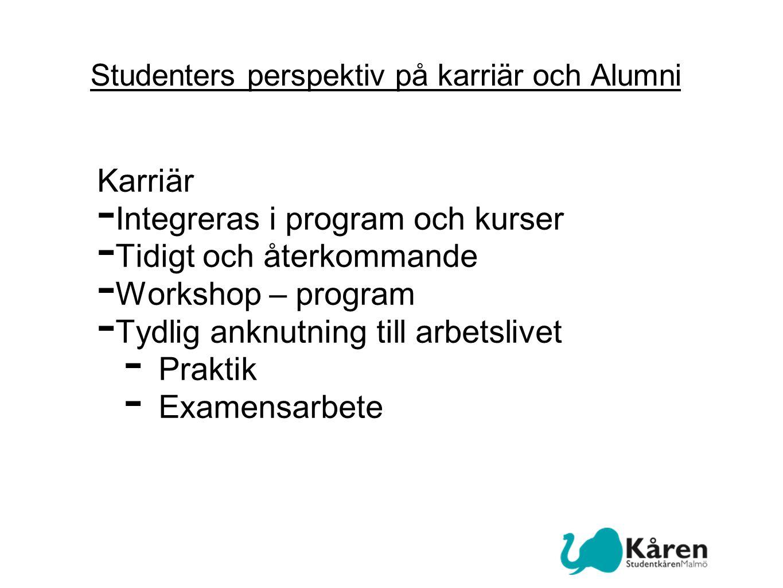 Studenters perspektiv på karriär och Alumni Karriär - Integreras i program och kurser - Tidigt och återkommande - Workshop – program - Tydlig anknutning till arbetslivet - Praktik - Examensarbete
