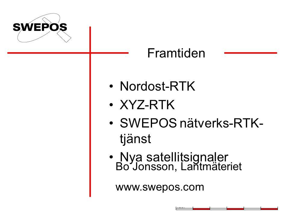Framtiden Nordost-RTK XYZ-RTK SWEPOS nätverks-RTK- tjänst Nya satellitsignaler Bo Jonsson, Lantmäteriet www.swepos.com