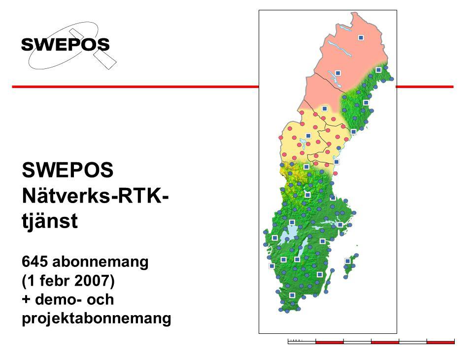 SWEPOS Nätverks-RTK- tjänst 645 abonnemang (1 febr 2007) + demo- och projektabonnemang