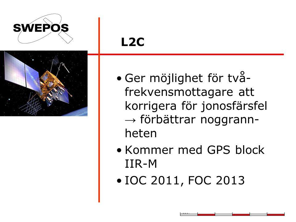 L2C Ger möjlighet för två- frekvensmottagare att korrigera för jonosfärsfel → förbättrar noggrann- heten Kommer med GPS block IIR-M IOC 2011, FOC 2013