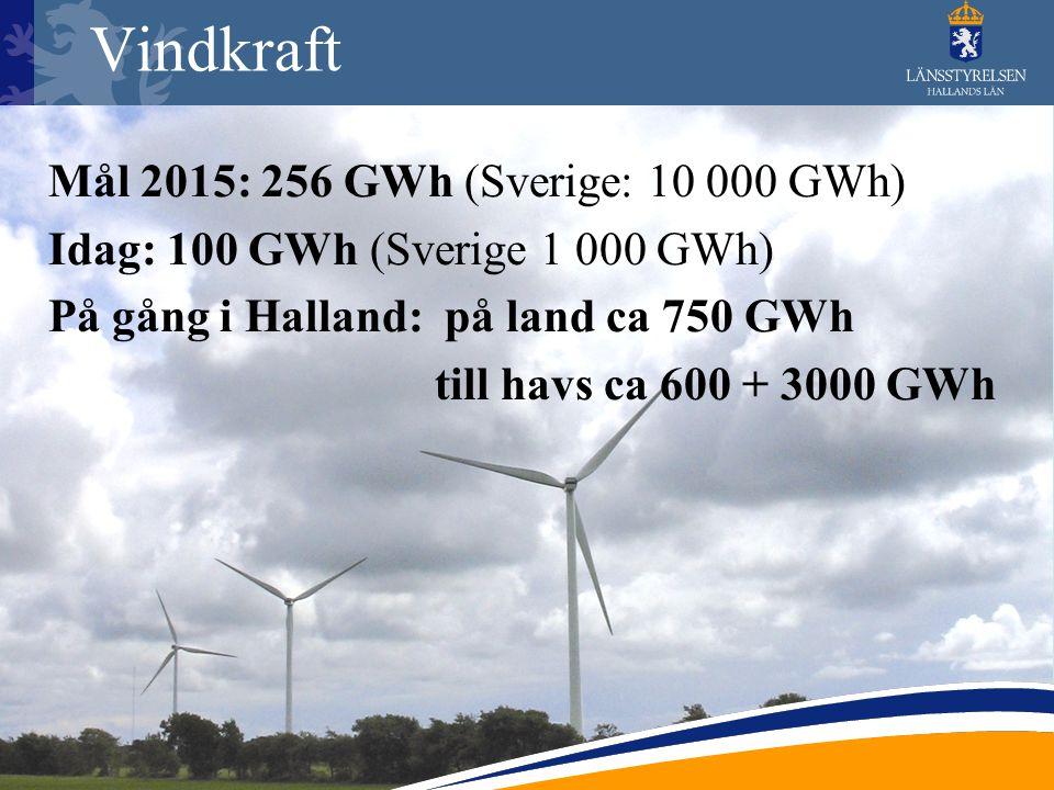 Vindkraft Mål 2015: 256 GWh (Sverige: 10 000 GWh) Idag: 100 GWh (Sverige 1 000 GWh) På gång i Halland: på land ca 750 GWh till havs ca 600 + 3000 GWh