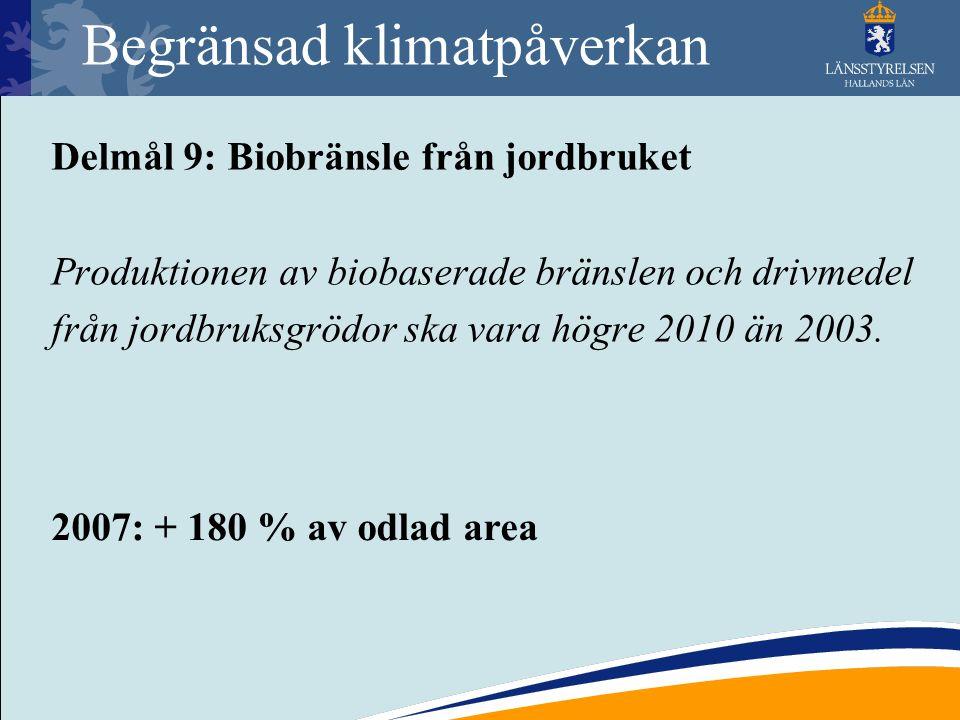 Begränsad klimatpåverkan Delmål 9: Biobränsle från jordbruket Produktionen av biobaserade bränslen och drivmedel från jordbruksgrödor ska vara högre 2