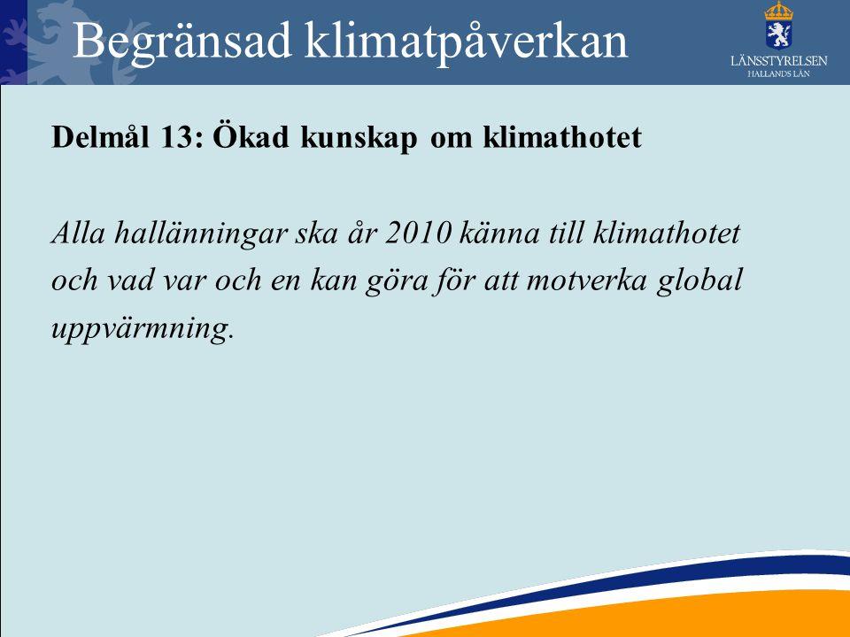 Begränsad klimatpåverkan Delmål 13: Ökad kunskap om klimathotet Alla hallänningar ska år 2010 känna till klimathotet och vad var och en kan göra för a