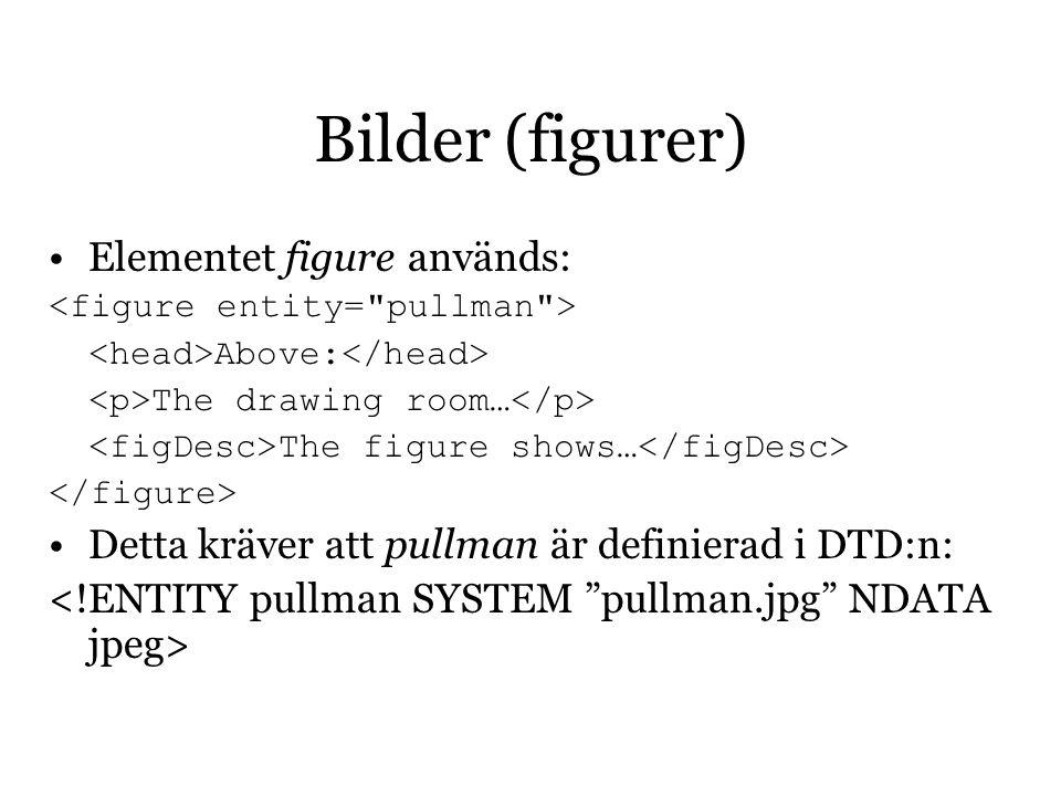 Bilder (figurer) Elementet figure används: Above: The drawing room… The figure shows… Detta kräver att pullman är definierad i DTD:n: