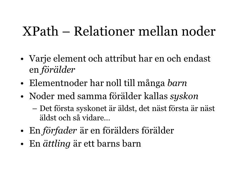 XPath – Relationer mellan noder Varje element och attribut har en och endast en förälder Elementnoder har noll till många barn Noder med samma förälder kallas syskon –Det första syskonet är äldst, det näst första är näst äldst och så vidare… En förfader är en förälders förälder En ättling är ett barns barn