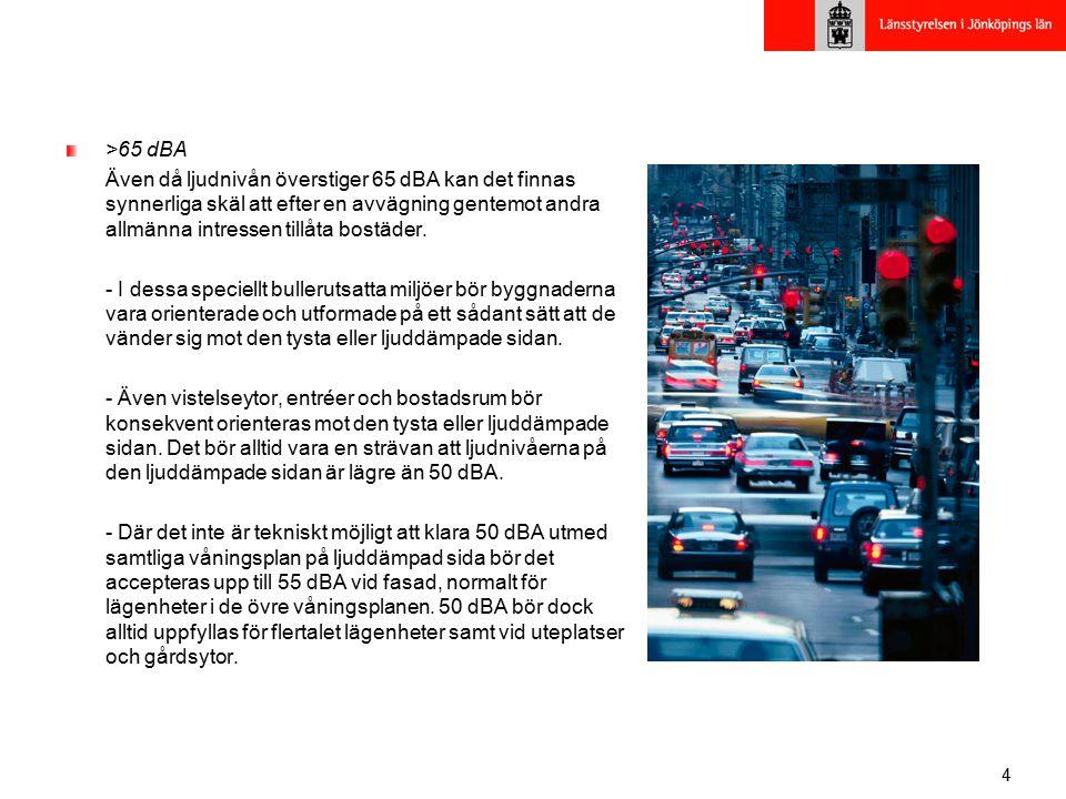 4 >65 dBA Även då ljudnivån överstiger 65 dBA kan det finnas synnerliga skäl att efter en avvägning gentemot andra allmänna intressen tillåta bostäder.