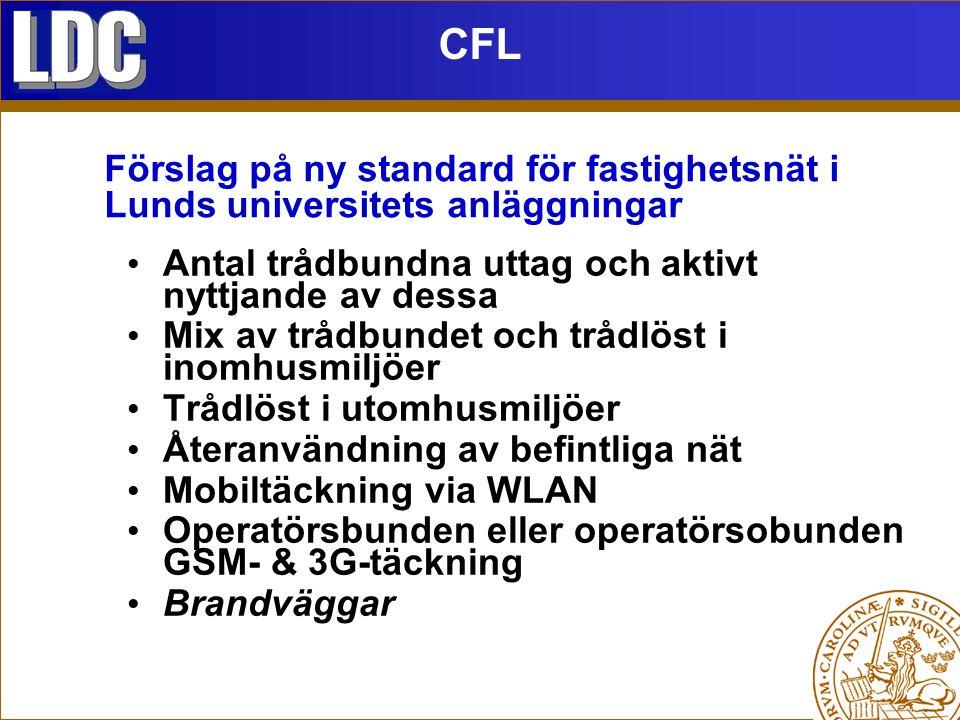 CFL Antal trådbundna uttag och aktivt nyttjande av dessa Mix av trådbundet och trådlöst i inomhusmiljöer Trådlöst i utomhusmiljöer Återanvändning av befintliga nät Mobiltäckning via WLAN Operatörsbunden eller operatörsobunden GSM- & 3G-täckning Brandväggar Förslag på ny standard för fastighetsnät i Lunds universitets anläggningar