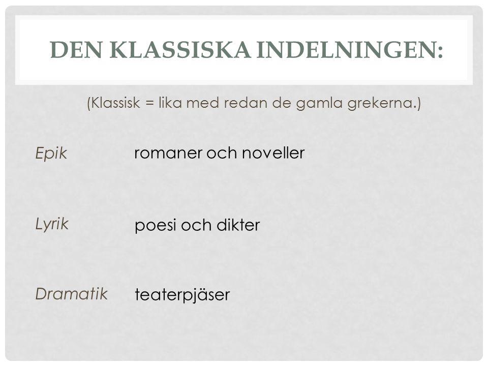 DEN KLASSISKA INDELNINGEN: Epik Lyrik Dramatik (Klassisk = lika med redan de gamla grekerna.) romaner och noveller poesi och dikter teaterpjäser