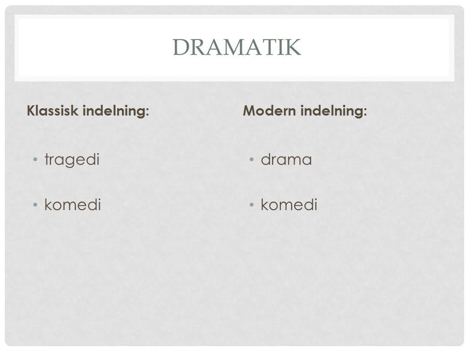 DRAMATIK Klassisk indelning: tragedi komedi Modern indelning: drama komedi