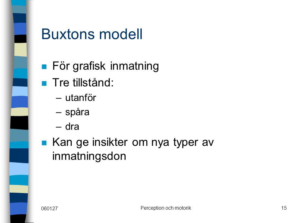 060127 Perception och motorik15 Buxtons modell För grafisk inmatning Tre tillstånd: –utanför –spåra –dra Kan ge insikter om nya typer av inmatningsdon