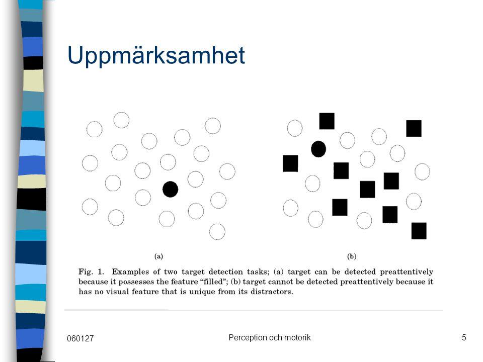 060127 Perception och motorik6 Mönsterperception mellannivån i perceptionsprocessen Gestaltteorin Stöd för problemlösning genom externa representationer, visualiseringsmetoder