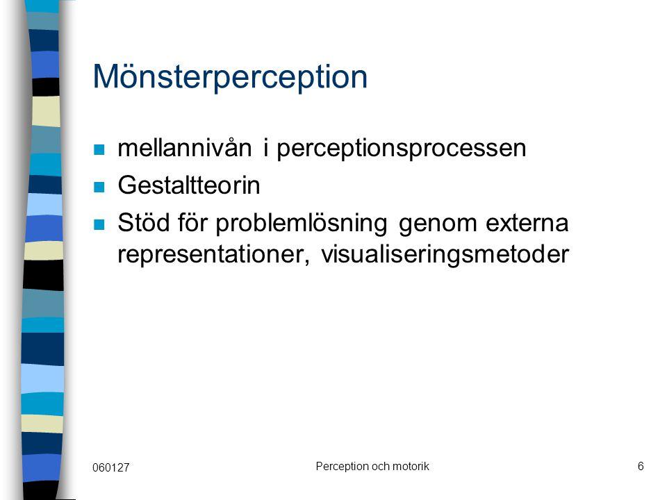 060127 Perception och motorik6 Mönsterperception mellannivån i perceptionsprocessen Gestaltteorin Stöd för problemlösning genom externa representation