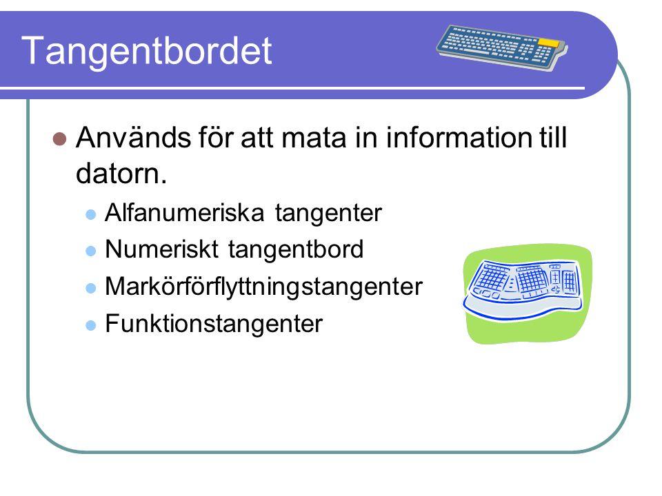 Tangentbordet Används för att mata in information till datorn. Alfanumeriska tangenter Numeriskt tangentbord Markörförflyttningstangenter Funktionstan