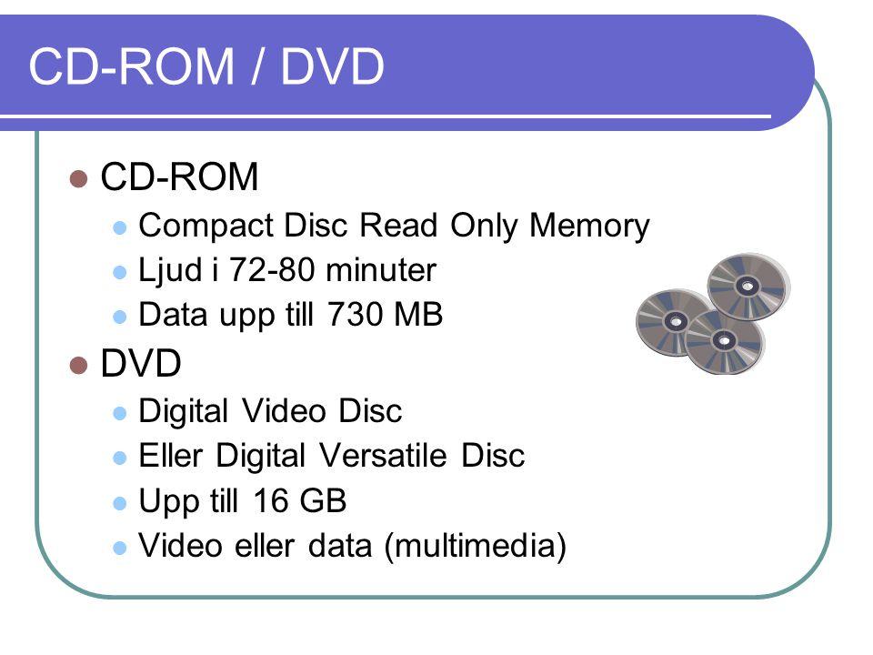 CD-ROM / DVD CD-ROM Compact Disc Read Only Memory Ljud i 72-80 minuter Data upp till 730 MB DVD Digital Video Disc Eller Digital Versatile Disc Upp ti