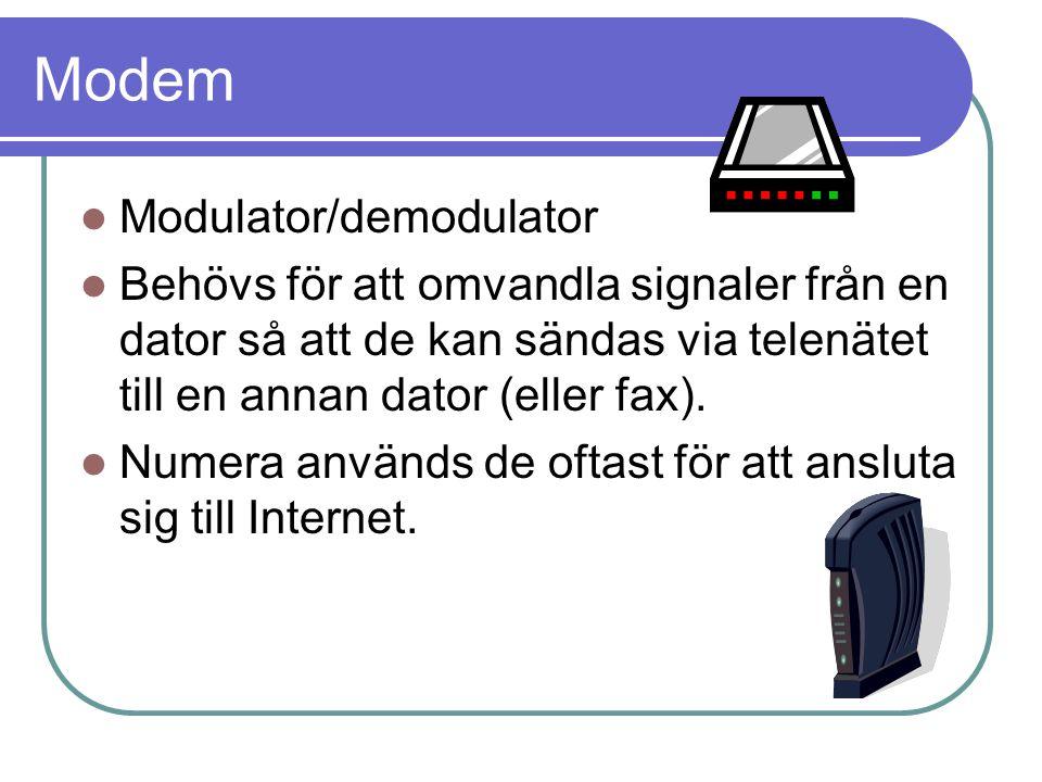 Modem Modulator/demodulator Behövs för att omvandla signaler från en dator så att de kan sändas via telenätet till en annan dator (eller fax). Numera
