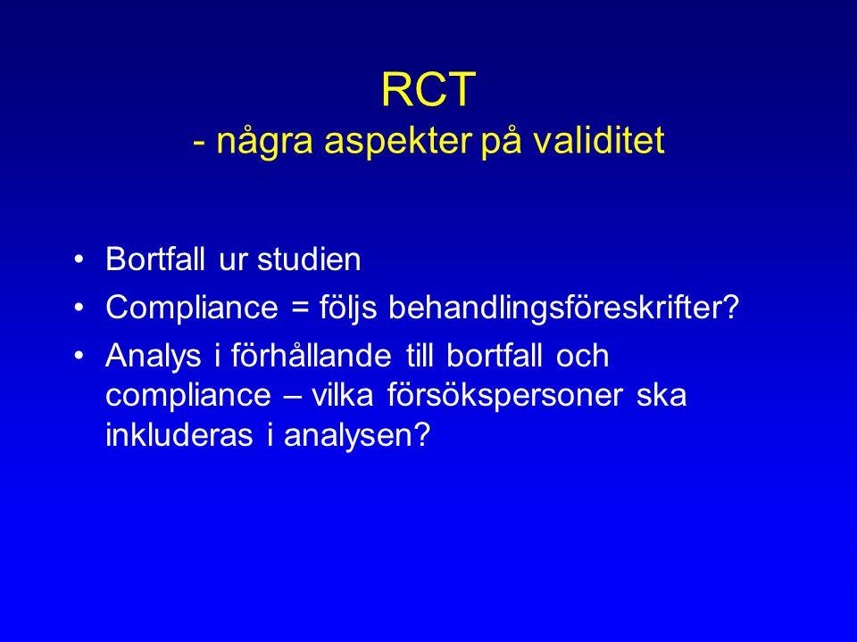 RCT - några aspekter på validitet Bortfall ur studien Compliance = följs behandlingsföreskrifter.