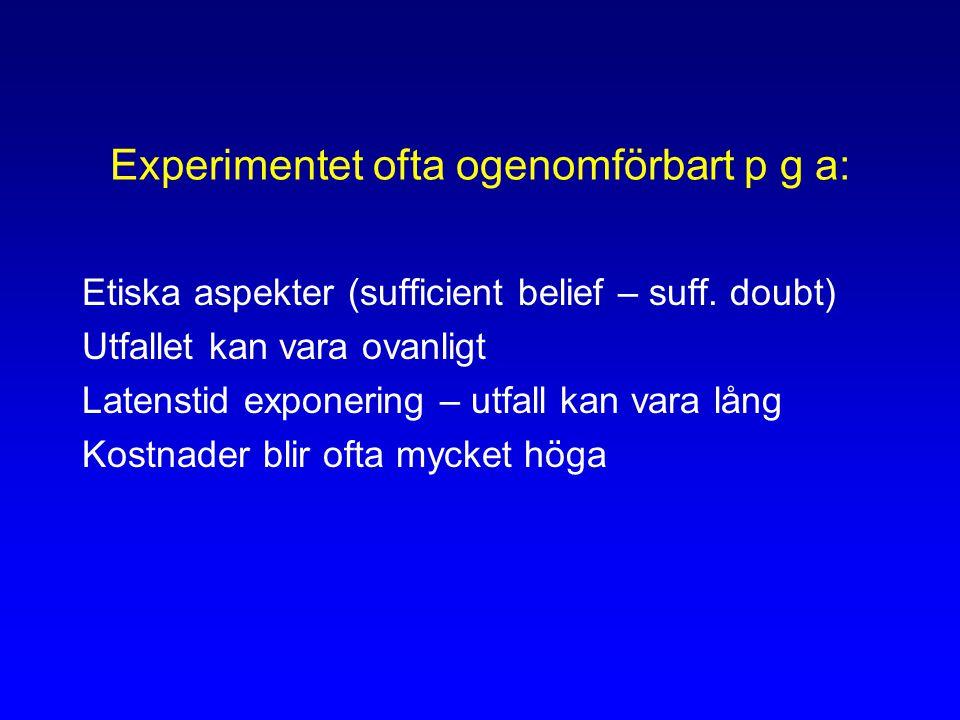 Experimentet ofta ogenomförbart p g a: Etiska aspekter (sufficient belief – suff.