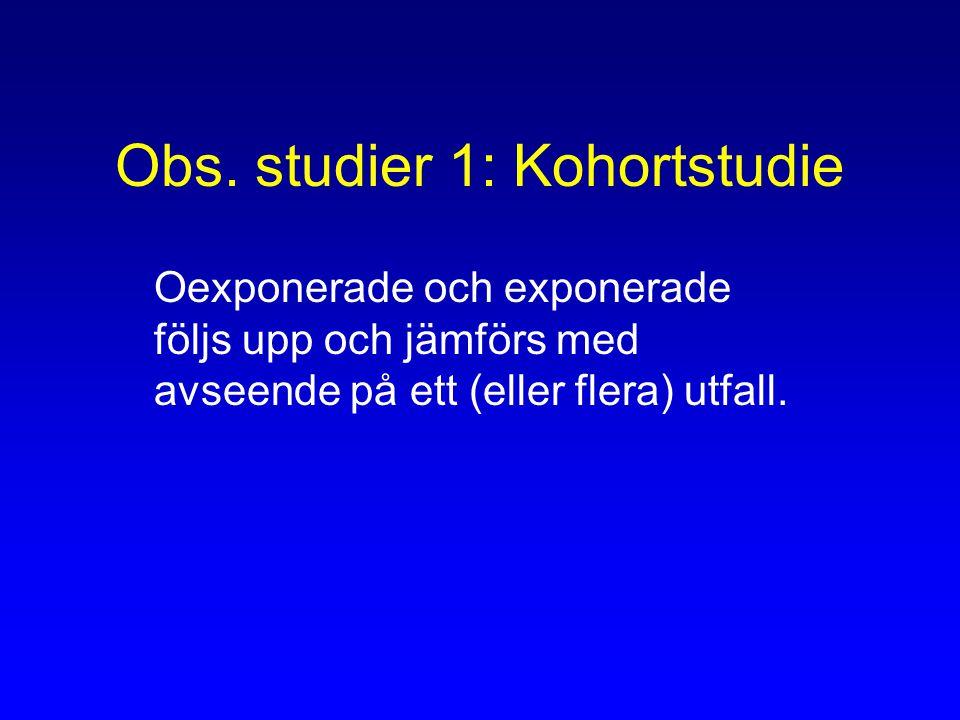 Obs. studier 1: Kohortstudie Oexponerade och exponerade följs upp och jämförs med avseende på ett (eller flera) utfall.