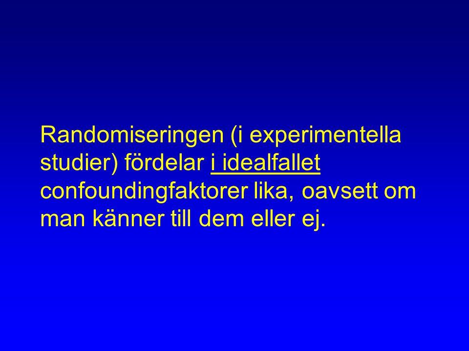 Randomiseringen (i experimentella studier) fördelar i idealfallet confoundingfaktorer lika, oavsett om man känner till dem eller ej.