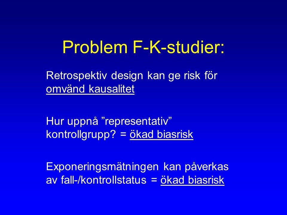 Problem F-K-studier: Retrospektiv design kan ge risk för omvänd kausalitet Hur uppnå representativ kontrollgrupp.
