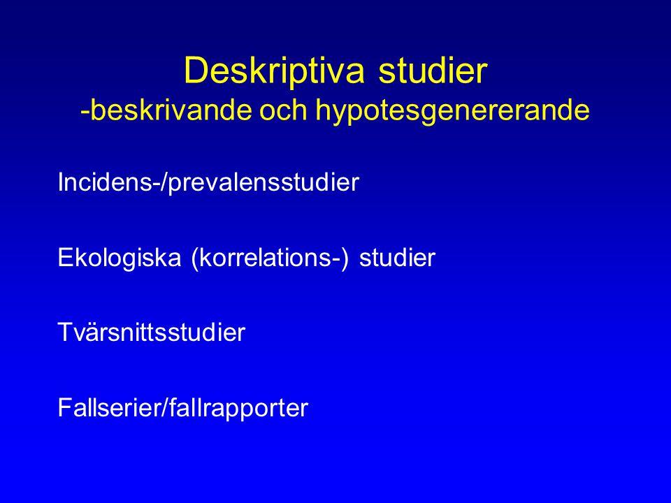 Deskriptiva studier -beskrivande och hypotesgenererande Incidens-/prevalensstudier Ekologiska (korrelations-) studier Tvärsnittsstudier Fallserier/fallrapporter