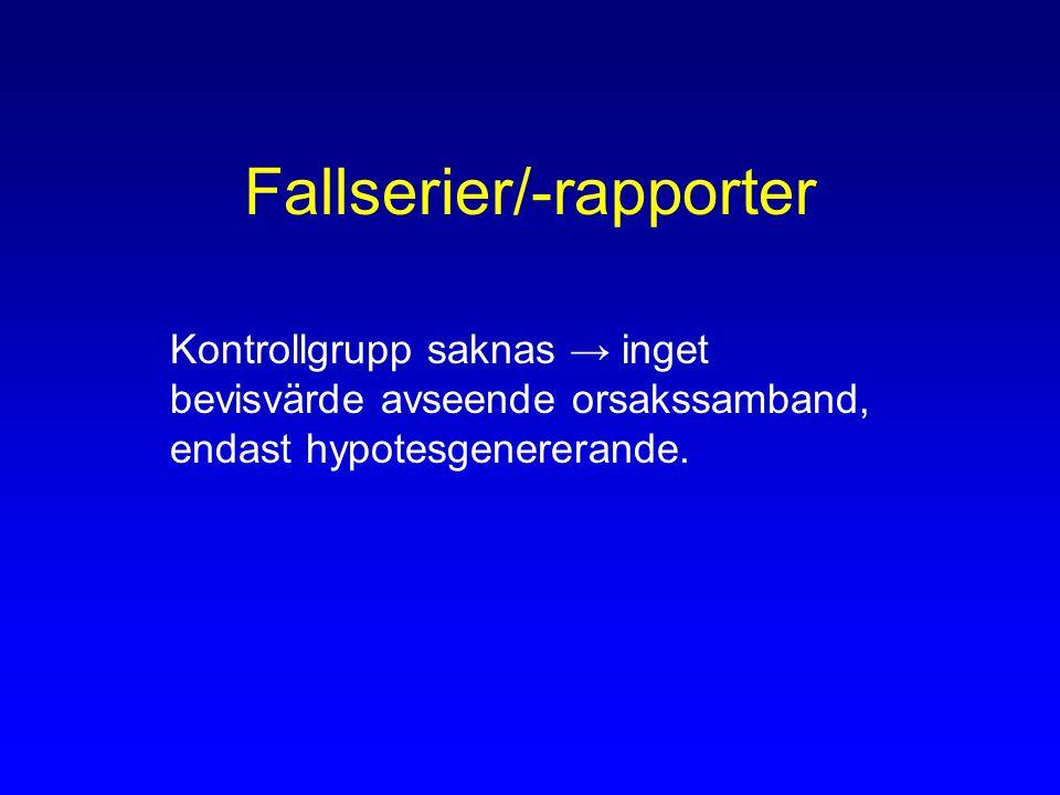 Fallserier/-rapporter Kontrollgrupp saknas → inget bevisvärde avseende orsakssamband, endast hypotesgenererande.