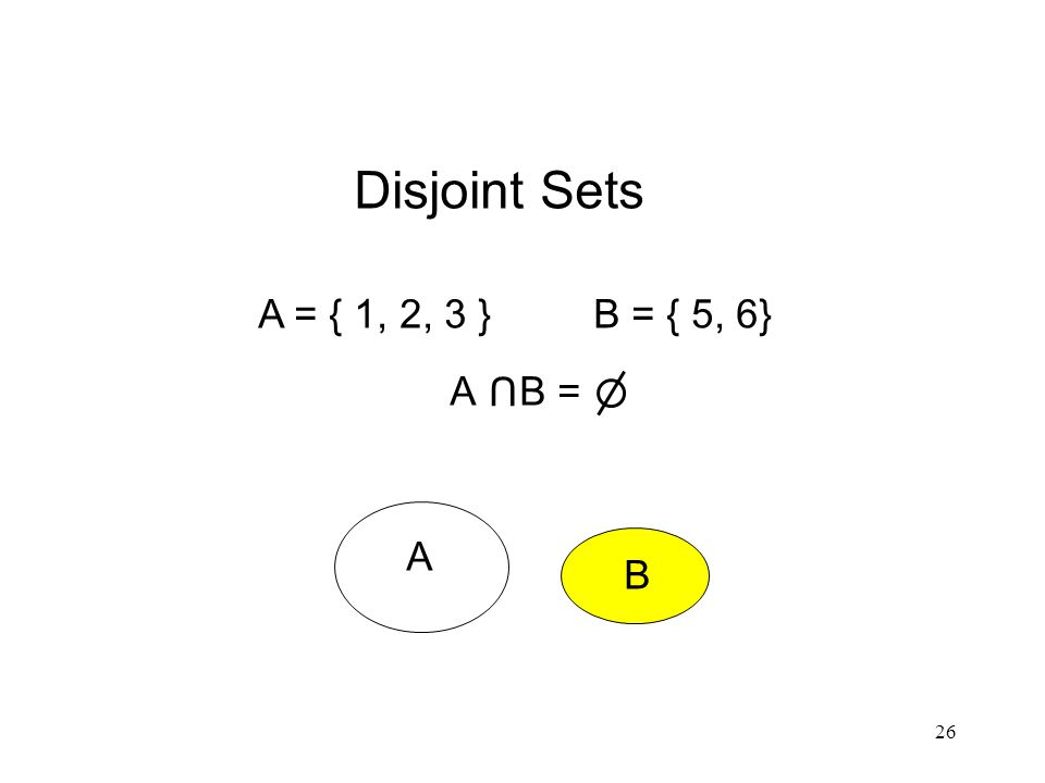 26 Disjoint Sets A = { 1, 2, 3 } B = { 5, 6} A B = U A B