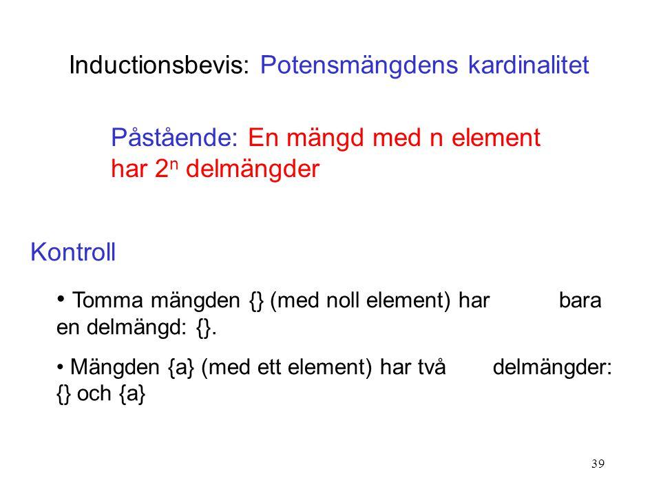 39 Inductionsbevis: Potensmängdens kardinalitet Påstående: En mängd med n element har 2 n delmängder Kontroll Tomma mängden {} (med noll element) har bara en delmängd: {}.