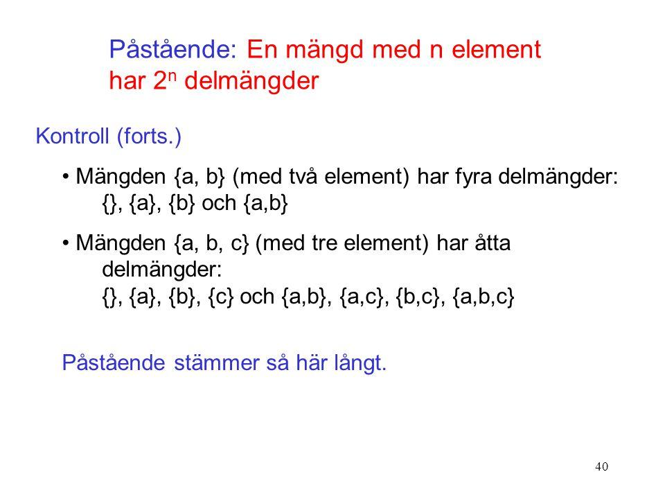 40 Påstående: En mängd med n element har 2 n delmängder Kontroll (forts.) Mängden {a, b} (med två element) har fyra delmängder: {}, {a}, {b} och {a,b} Mängden {a, b, c} (med tre element) har åtta delmängder: {}, {a}, {b}, {c} och {a,b}, {a,c}, {b,c}, {a,b,c} Påstående stämmer så här långt.