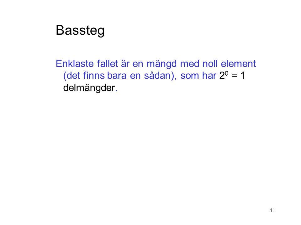 41 Bassteg Enklaste fallet är en mängd med noll element (det finns bara en sådan), som har 2 0 = 1 delmängder.