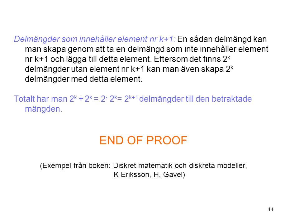44 Delmängder som innehåller element nr k+1: En sådan delmängd kan man skapa genom att ta en delmängd som inte innehåller element nr k+1 och lägga till detta element.