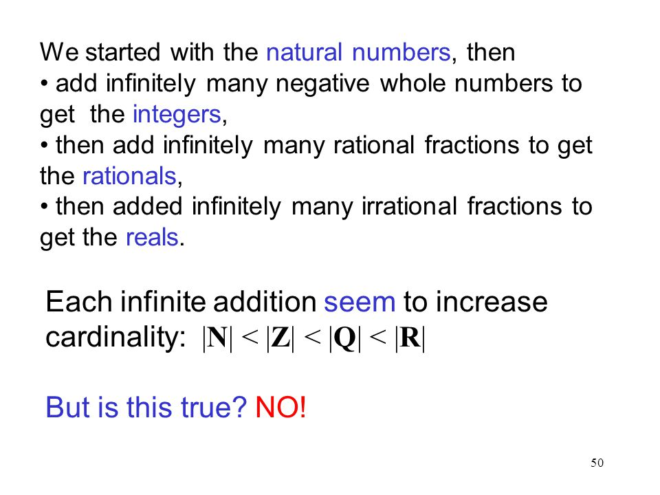 50 We started with the natural numbers, then add infinitely many negative whole numbers to get the integers, then add infinitely many rational fractio