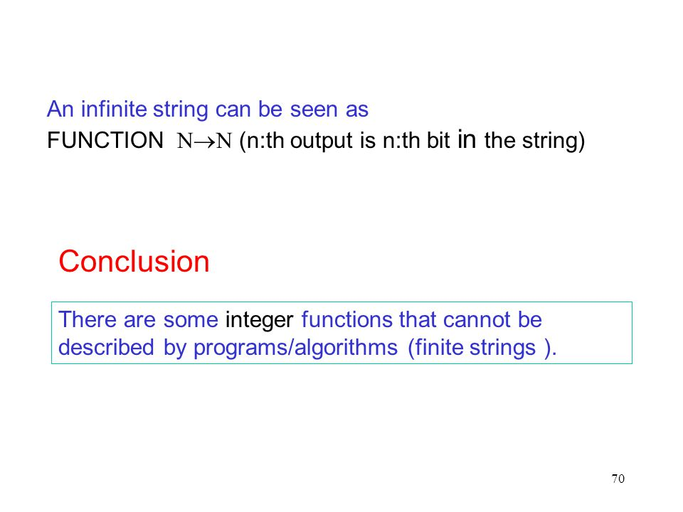 70 There are some integer functions that cannot be described by programs/algorithms (finite strings ). Conclusion An infinite string can be seen as FU