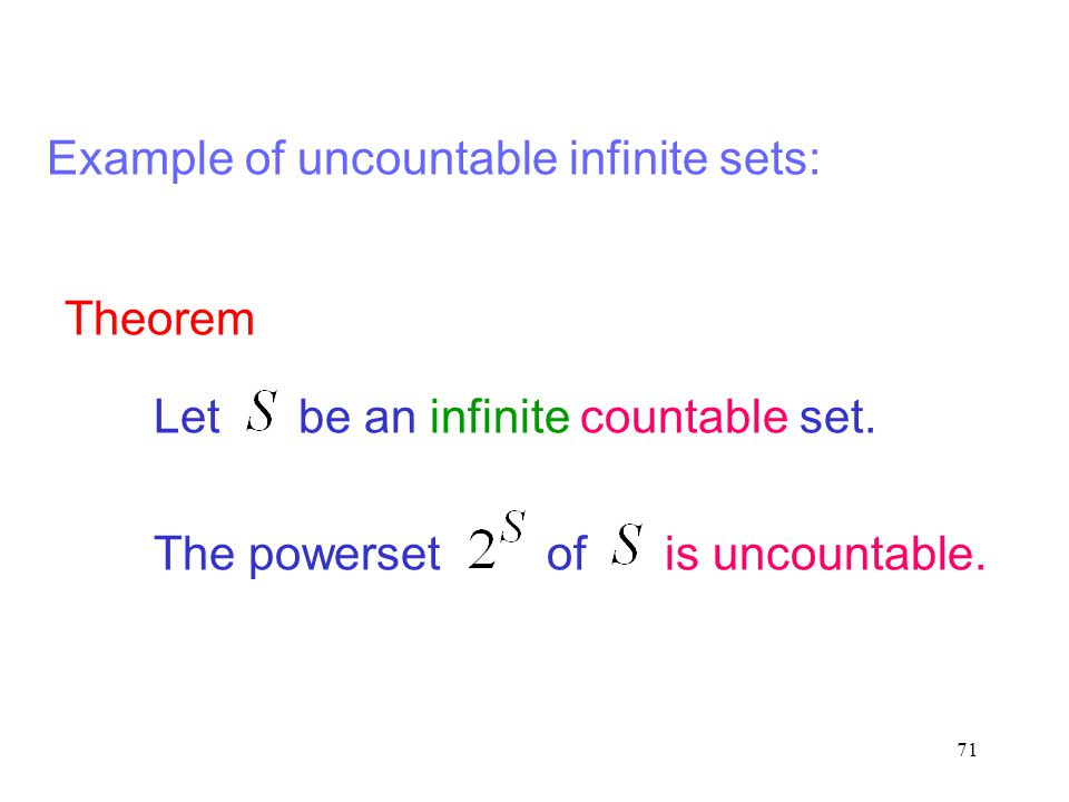 71 Theorem Let be an infinite countable set. The powerset of is uncountable. Example of uncountable infinite sets: