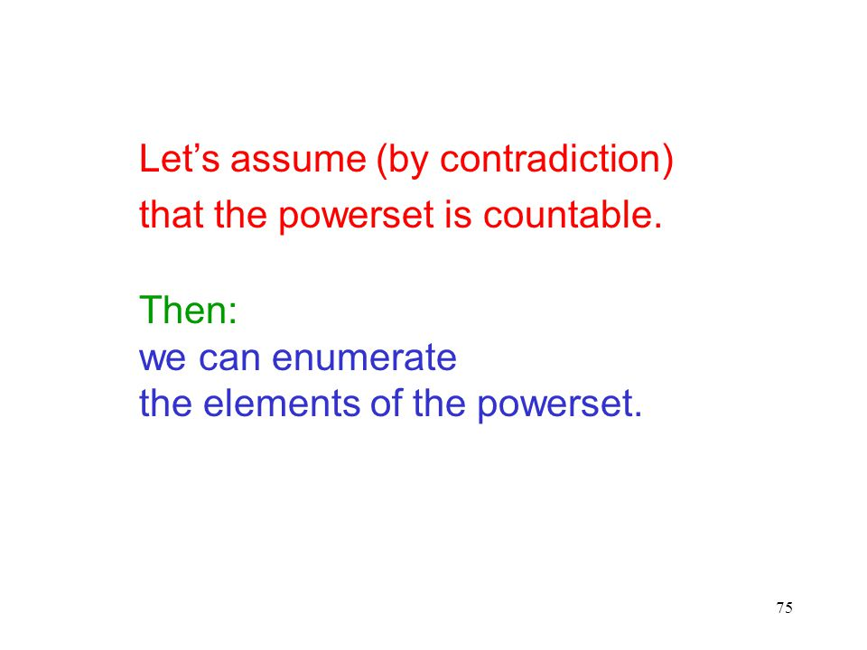 75 Let's assume (by contradiction) that the powerset is countable. Then: we can enumerate the elements of the powerset.